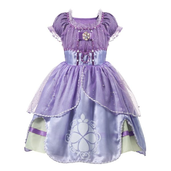 top popular 2020 Purple Girls Sofia Princess Costume Children 5 Layers Floral Sophia Party Gown Girl for Halloween Fancy Dress up Outfit Clothes 2020