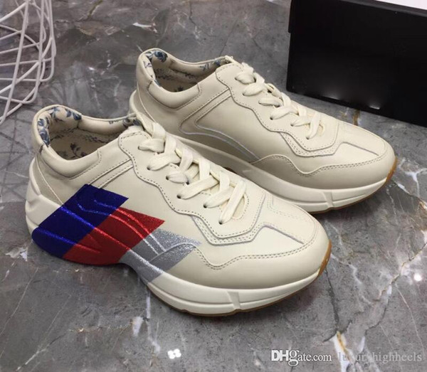 Luxury daddy shoes leather designer flat shoes vintage daddy luxury designer sneakers vintage vintage couple 35-45