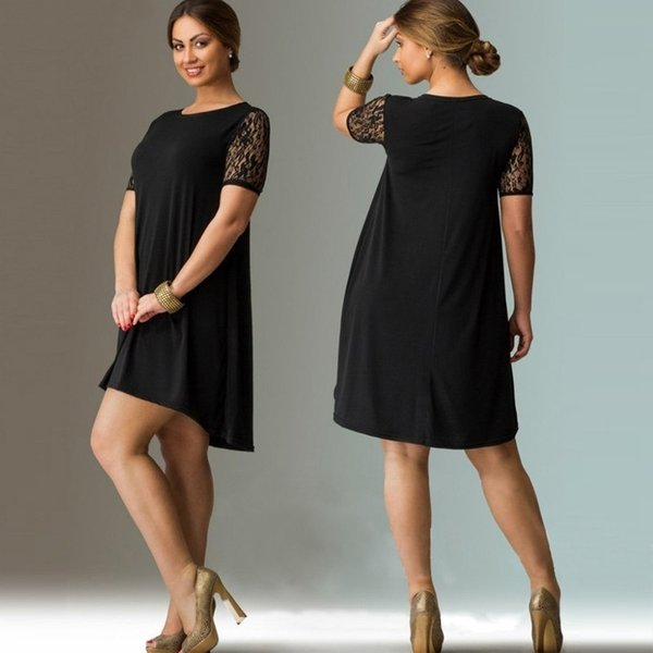 6XL Big Size Mini Dress 2019 Summer Dresses Plus Size Women Lace Dress Casual Beach Dress Plus Size Women Clothing Vestidos Y190117