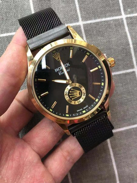 2019 new hot fashion men's watch quartz movement male black gold dial stainless steel strap men's watch free shipping