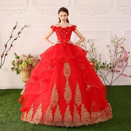 551979e0a3f65a Compre 100% Real Bordado Vermelho Flor Perolização Vestido Longo ...