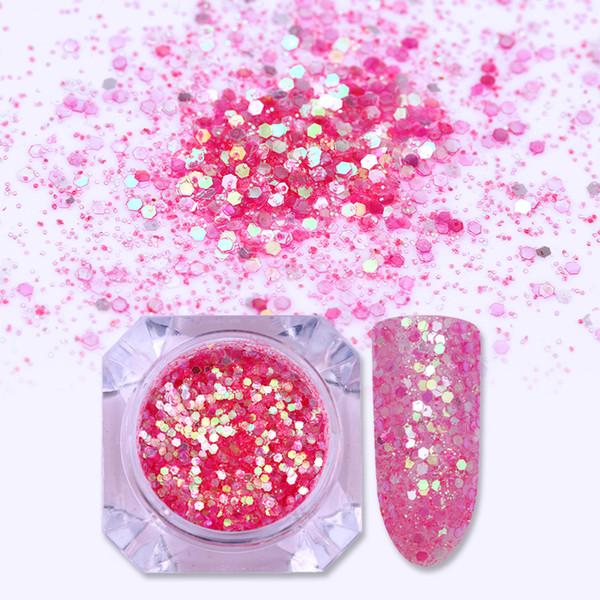 1 Box Pink Color Nail Glitter Sequins Multi-size Hexagon Flakes Nail Paillette Manicure Art Pigment Decoration DIY Design