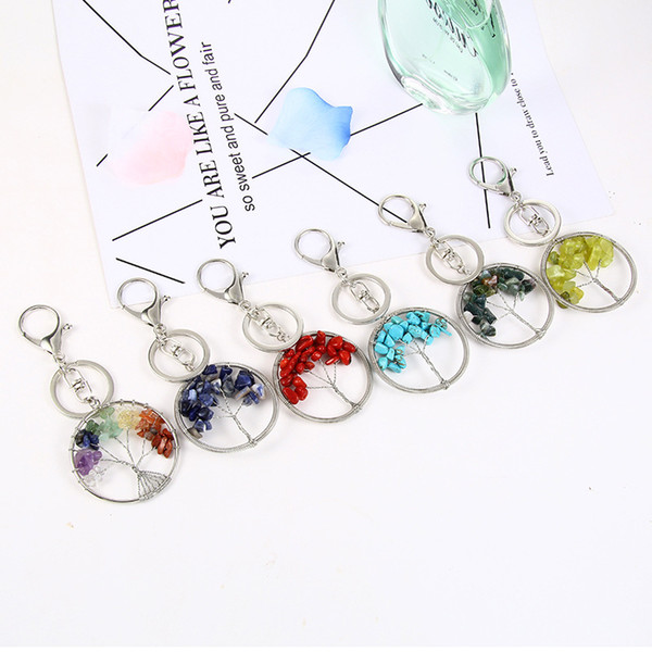 Free DHL 6 Colors Natural Crystal Stone Tree of Life Key Chain Charms Pendant Keychains Key Ring Holder Women Jewelry Best Gift G593Q F