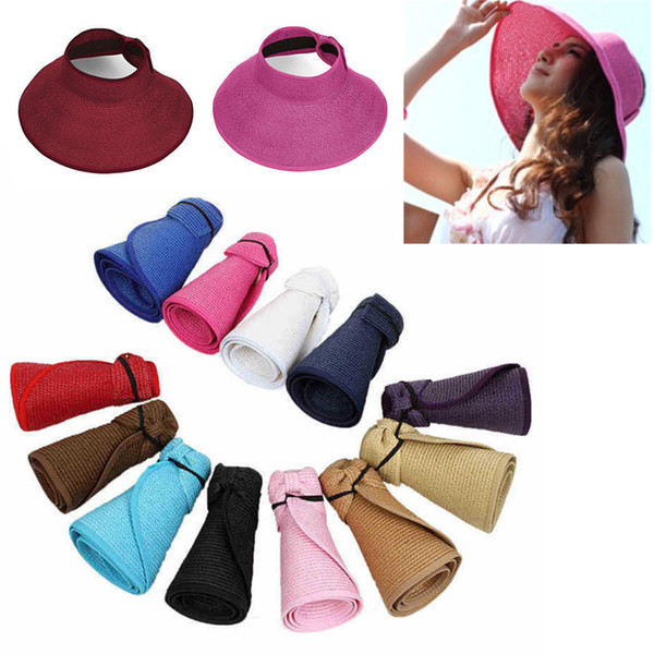 New Hat Visor Large Brim Wide mother and daughter Straw Cap Kids Women Spring Summer Foldable Up Beach Ladies Roll Sun UV Protect