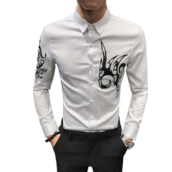 Moda casual camisa de mangas compridas dos homens primavera e outono nova impressão clube partido magro personalidade popular camisa