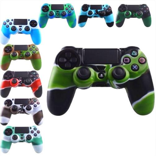 best selling 2019 Hottest For PS4 Gamepad Silicone Cover Rubber camouflage Case Protective Cover for Playstation 4 Controller Joystick DHL Free
