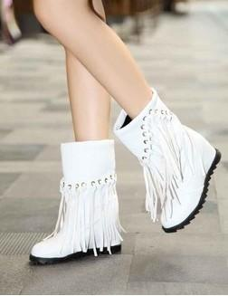 New Arrival Hot Sale Specials Super Fashion Influx Student Cotton Martin Knight Korean Leather Velvet Tassel Wedge Ankle Boots EU34-43