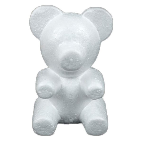 2019 Diy Party Decorations 1pcs DIY Craft Toy White Foam Bear Polystyrene Styrofoam Modelling Rose Bear Embryo Foam Core Valent