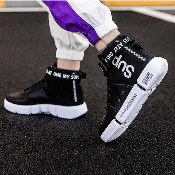 PU Casual Skate Sneakers Corée ulzzang chaussures de loisirs robuste Chaussures anti-dérapant Hommes Faux cuir Skater société Mode Chaussures A19