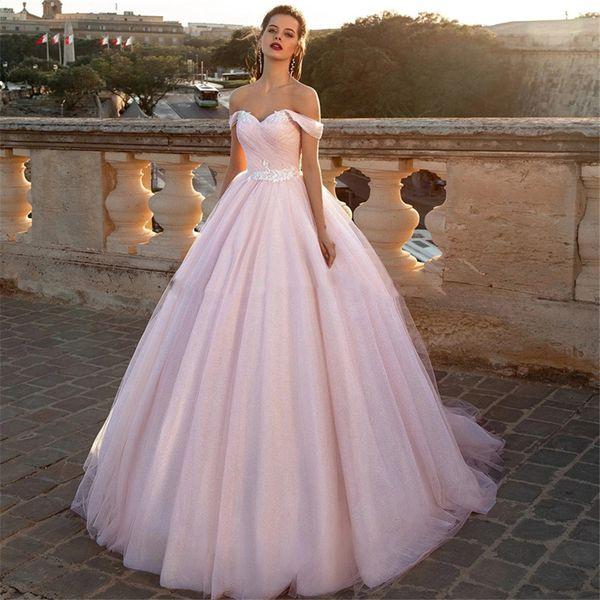 best selling Off Shoulder Ball Gown Wedding Dresses 2020 Modest Tulle Surplice Bridal Gowns Custom Bandage Back Wedding Wear Custom Online Vestidos