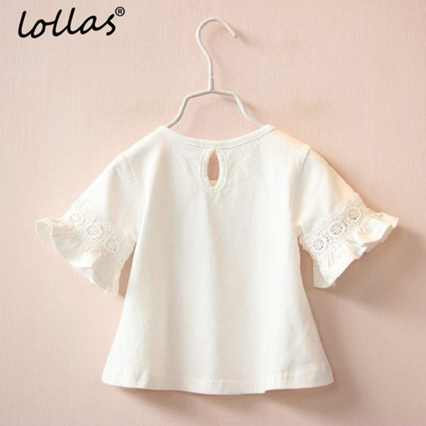Summer New Brand Girl Princess Lace Round Neck Trumpet Sleeve Short-sleeve T-shirt White Pink Tops Clothes