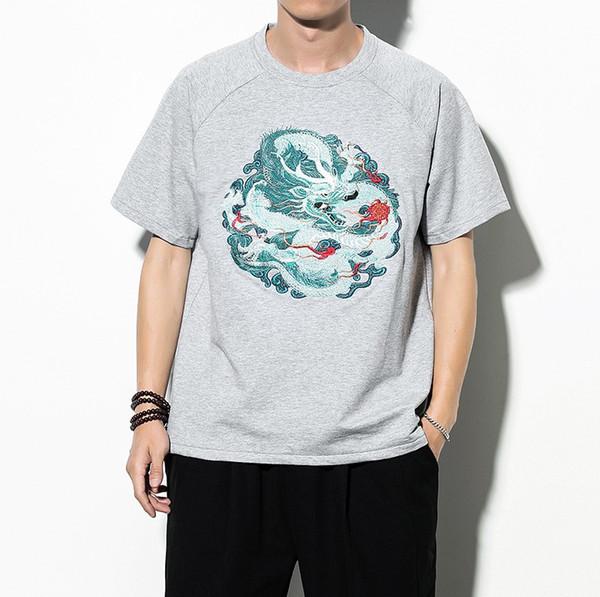 Dragon полиграфический дизайн Китайский стиль тенденции моды дышащая мужская футболка Круглый шеи Сыпучие 2019 вскользь короткими рукавами футболки