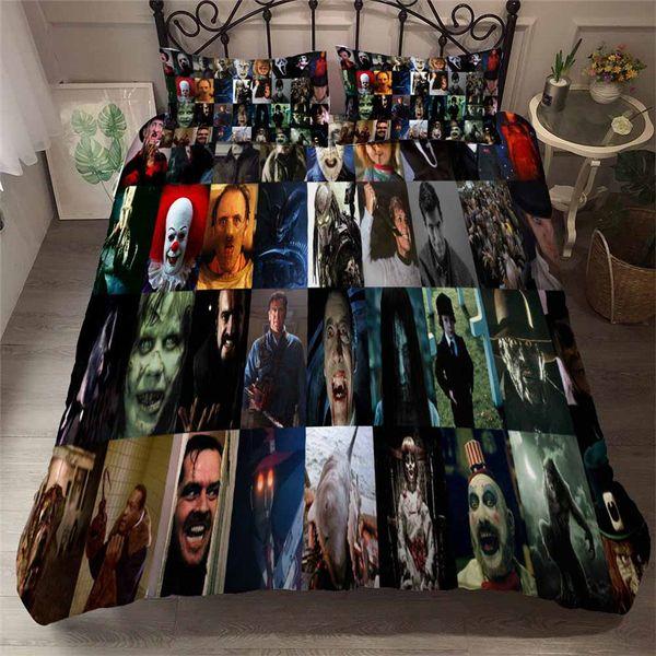 Helengili 3D Bettwäsche Horror Movie Print Bettbezug-Set Bedcloth mit Pillowcase Bed Heimtextilien # Kbrw-07