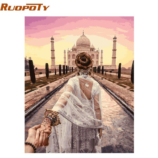 diy RUOPOTY Frame DIY By Numbers Hand In Hand Romantic Modern Home Wall Art Canvas Painting For Wedding Decor 40x50cm Arts