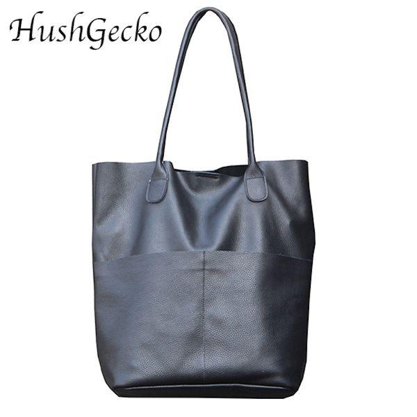 Genuine Leather Women's Shoulder Bag Large Casual Soft Real Leather Skin Tote Vintage Snap Basket Carry Bag
