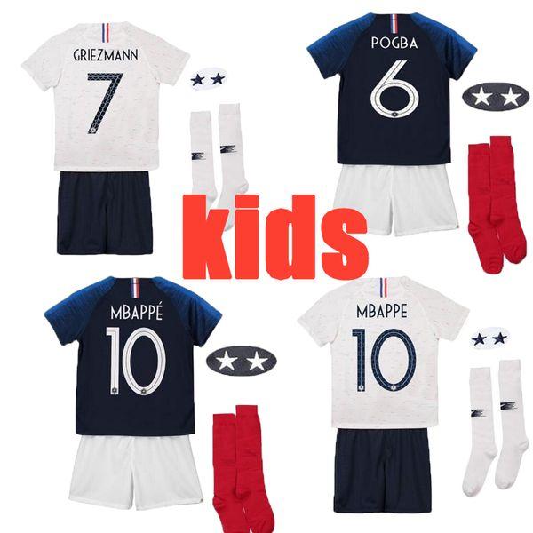 Atacado 2019 França crianças menino kit pogba camisa de futebol 2019 2020 PAYET DEMBELE MBAPPE GRIEZMANN KANTE camisas de futebol COMAN kit