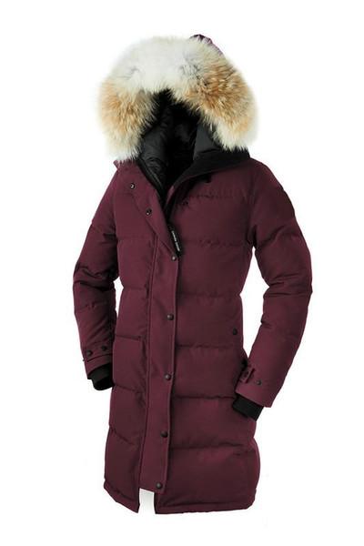 Mujeres Parkas INVIERNO CANADÁ Brand SHELBURNE3 Abajo abrigos esquimales con la chaqueta CAMPANA / Snowdome real lobo abrigos de cuello blanco Pato / Ganso Ropa de abrigo
