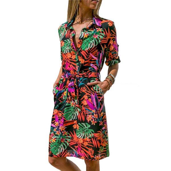 Novo Outono Verão Vestido de Mulheres Listrado Imprimir Lace Up Beach Dress Vestido de Festa Com Botão Na Altura Do Joelho Vestidos Verano Plus Size