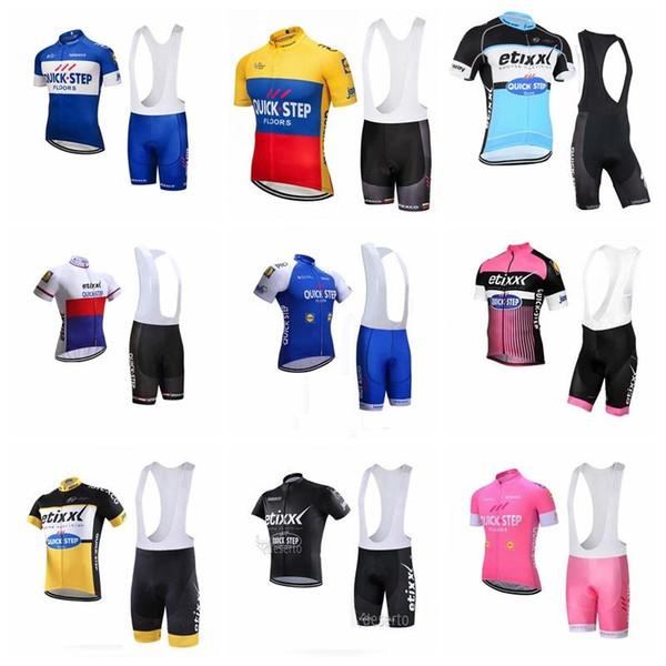 Quick Step Team Radsport Kurzarm Trikot (Träger) Shorts Sets 2019 Herren Mountainbike Bekleidung Atmungsaktiv Fahrradbekleidung 012804f
