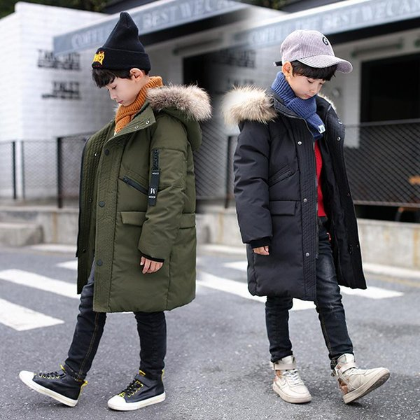 Boys Down Jackets Boys Coats Teenager Parkas Winter Long Thick Warm Cotton Down Jackets Fur Collar Hooded Kids Outwear