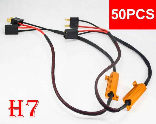50PCS 50W 6ohm Oro fusibile del faro del LED Canbus errore Canceler H1 H7 H8 H9 H11 9005/6 9012 Decoder resistore del carico Anti-Hyper Flash