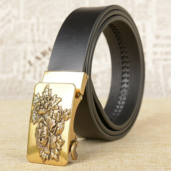 New Arrival Cow Leather Jeans Ratchet Belt For Men Fashion Flower Buckle Vintage Automatic Male Belts for Dress Genuine Leather