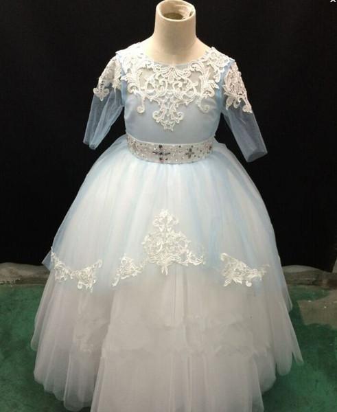 Schöne Blume Mädchen Kleider Für Hochzeiten Jewel Neck Tüll Bodenlangen Backless Ballkleid Junior Brautjungfernkleider Für Mädchen Real Image
