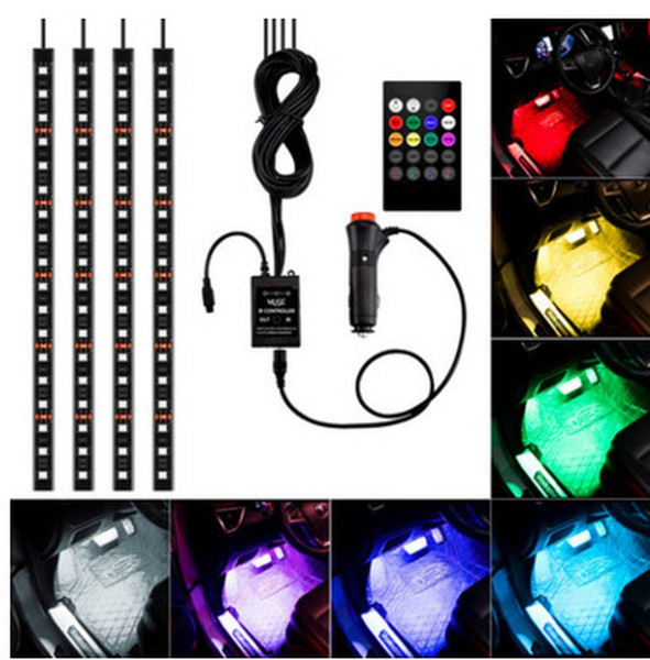 top popular General Car styling Wireless Remote Music Voice Control Interior Floor Foot Decoration Light Atmosphere RGB Neon LampStrip 2021