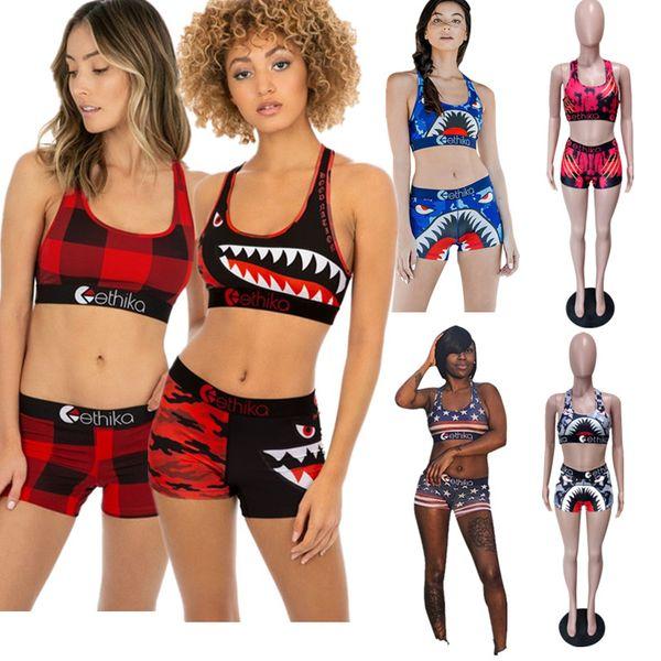 Ethika Shark Maillot de bain Crop Tank Bra + Shorts Maillot de bain 2 pièces Survêtement Beachwear Street Wear Summer Tankinis Sportswear 6 ColorA3212