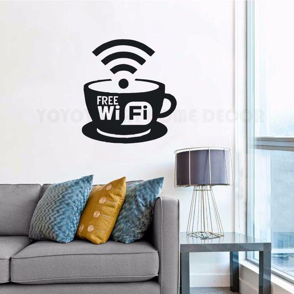 Free Wifi Logo Wall Decalcomania Coffee Cafe Restaurant Wall Art Decoration Nuovo Design Free Wifi Cup Vinyl Wall Sticker