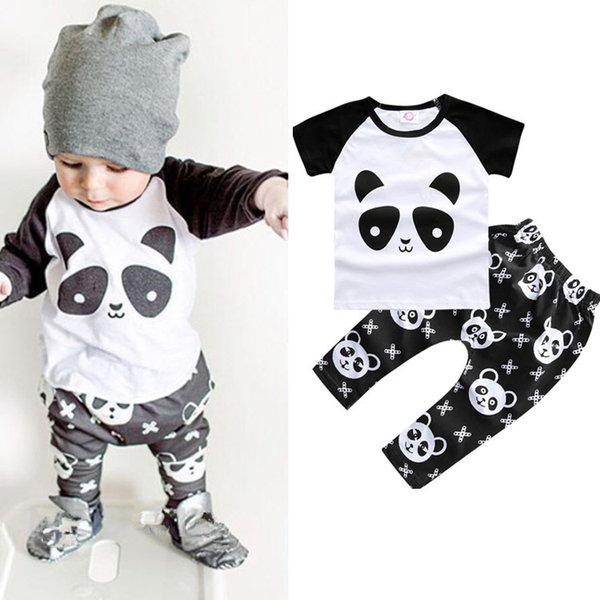Foreign Trade Hot Childrens Clothing Explosion Models Panda Print T-shirt And Cotton Short-sleeved Two-piece From China