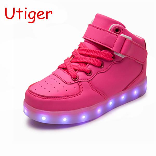 Sepet Led Light Up Ile Çocuk Ayakkabıları Çocuklar Rahat Ayakkabılar Erkek Kız Sneakers Parlayan Ayakkabı Enfant 25-40 Boyutu / Usb Şarj MX190727