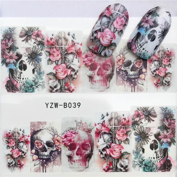 1pcs Skull Nail Water Transfer Decals Nail Art Sticker Black Flowers Watermark Adhesive Sliders Wraps Decoration Manicure D19010803