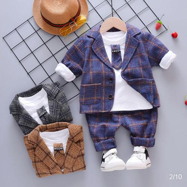 Enfant Bébé garçon Plaid Costume Sets Vêtements 2019 Mode 3PCS Tout-petit garçon Vêtements Costume bébé pour garçons Manteau + T-shirt + pantalon 1- 4Y