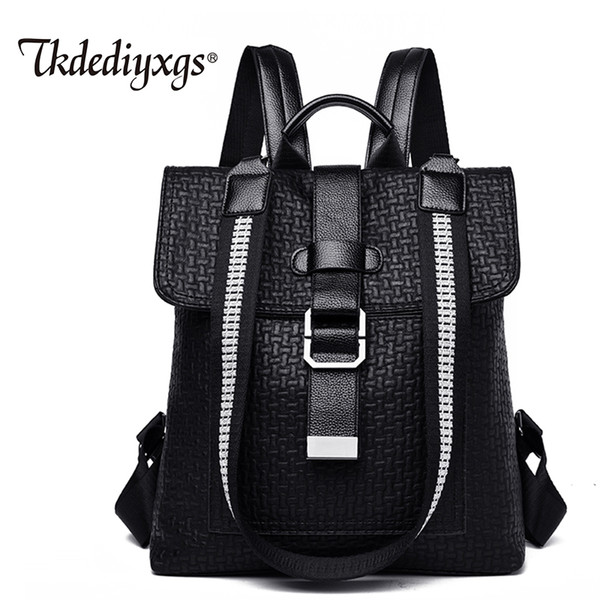 Trendy ladies backpack leather fashion luxury female shoulder bag high quality soft multi-function backpack ladies student bag