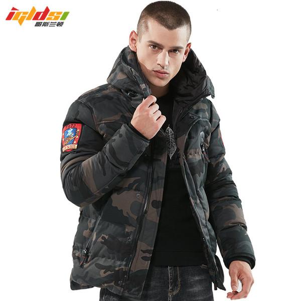 2018 бомбардировщик зимняя куртка мужчины утолщаются теплые тактические парки с капюшоном пальто камуфляж армия военная вышивать куртка мягкий пальто MX191121