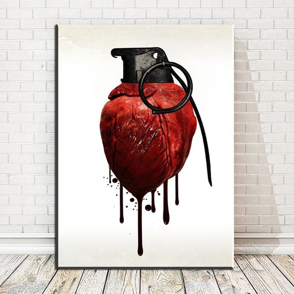 2019 Modern Abstract Canvas Art Human Heart Iron Ring With Blood Art Oil Painting For Livingroom Bedroom Decoration No Framed From Wallstickerworld