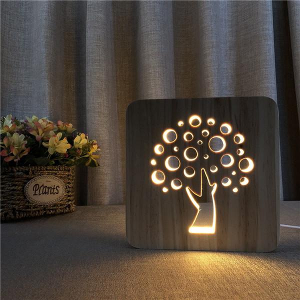 Forma da árvore LEVOU Pequeno Candeeiro de Mesa Criativo Novidade Sólida 3D Noite Lâmpada De Escultura Em Madeira Oca Luz Noturna USB Power Supply