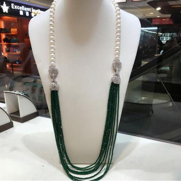 Venta o calibre 9-10mm o colar do blanco de pérolas de água doce verde o multicapa largo largo O cadeado joyería de moda 32 pulgadas