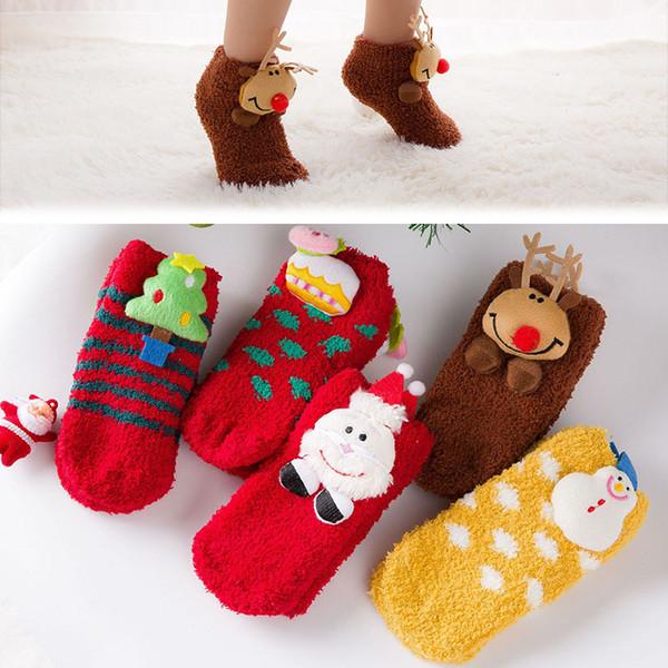 Calcetines de bebé creativos de otoño e invierno Animal de dibujos animados de Navidad santa claus muñeco de nieve calcetines para niños calcetines antideslizantes de terciopelo de coral cálido M360
