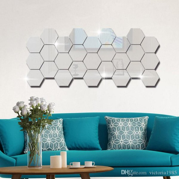 wholesale low price 12pcs/lot Hexagon Honeycomb Decorative 3D Acrylic Mirror Wall Stickers Living Room Bedroom Poster Home Decor 80*70*40MM
