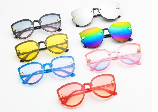 Fashion Kids desinger sunglasses boys girls metal bees applique sun glasses children cat eye dazzle colour mirror beach sunglasses F4253