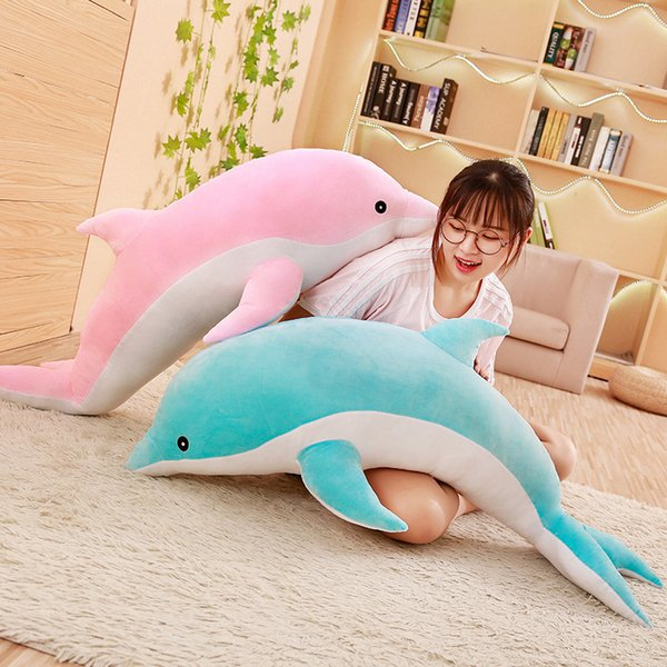 50-120cm Cute Dolphin Plush Toy large Doll soft Stuffed Down Cotton Animal cushion Nap Pillow Creative Christmas Gift for Girls