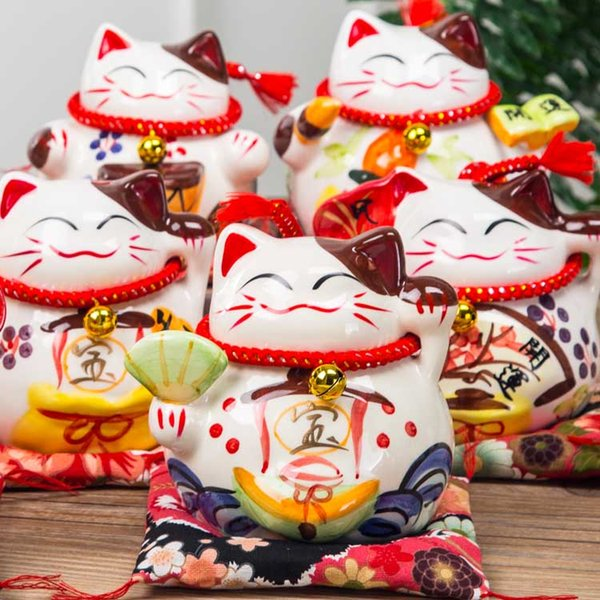 Dinheiro gato japonês tradicional Lucky Cat Banco de economia Branco Porcelana Maneki Neko estatueta Fortune Caixa asiática Decoração Negócios