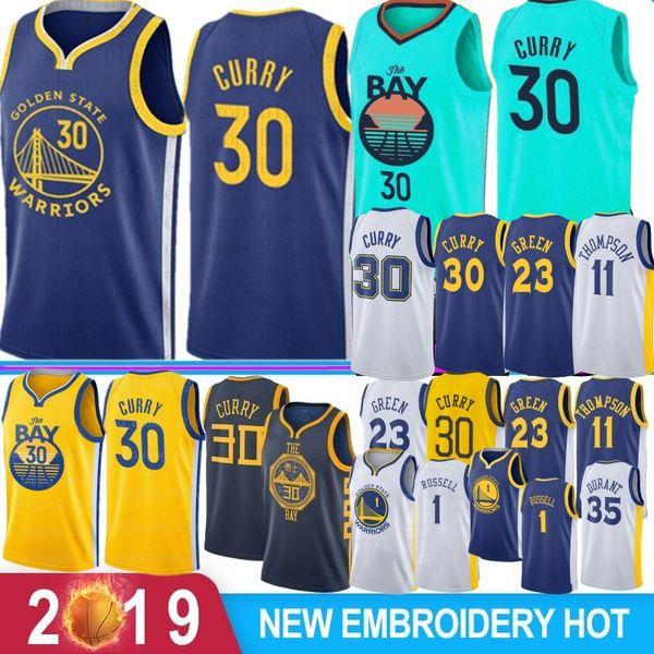 NCAA Stephen Curry 30 Retro Kevin Durant 35 Basketball Jerseys 1 Russell Draymond 23 verde Klay Thompson 11 Andre 9 lguodala Hot Sale