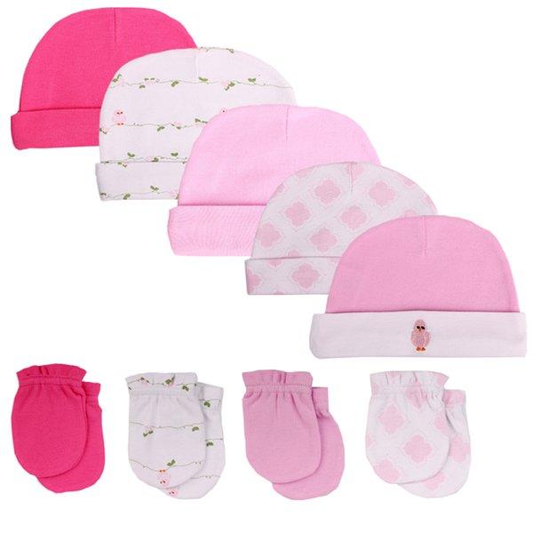 2018. Новорожденные детские шапки шапки детские аксессуары 5шт / серия перчатки новорожденных 0-6 месяцев Мальчики девочки новорожденный фотографии реквизита