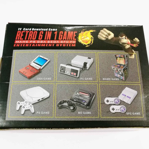 new HDMI Retro HD TV Game Console Support MAME PS GBA SEGA FC GAMES 6 IN 1 CONSOLE support TF Card download games Classic Handheld