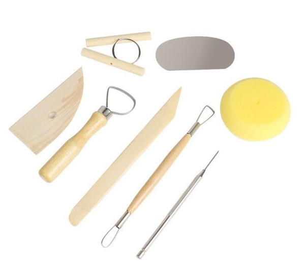 best selling DIY Pottery Tool 8Pcs Set Clay Ceramics Molding Tools - Stainless Steel Wood Sponge Tool Set For Home Handwork Supplies SN2560