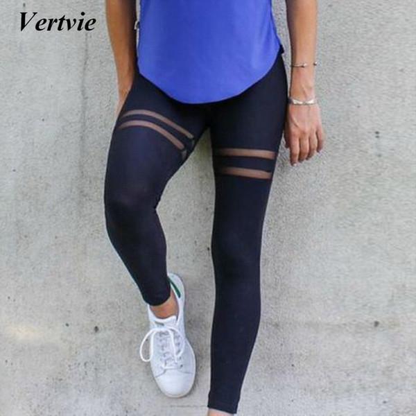 Vertvie Marka 2018 Kadın Gym Fitness Spor Yoga Pantolon Egzersiz Tayt Yeni Kadın Örgü Dikiş Yüksek Bel Yoga Pantolon Spor Pantolon