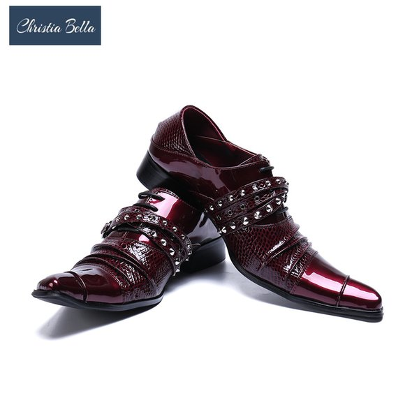 Christia Bella Luxe Mode En Cuir Rouge Chaussures Habillées Toe Toe Suits Hommes Chaussures De Mariage Homme Zapatos De Hombre